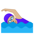 Woman Swimming: Medium-Light Skin Tone on Google Android 10.0 March 2020 Feature Drop