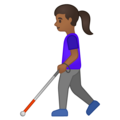 Woman with White Cane: Medium-Dark Skin Tone on Google Android 10.0 March 2020 Feature Drop