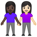 Women Holding Hands: Dark Skin Tone, Light Skin Tone on Google Android 10.0 March 2020 Feature Drop