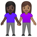 Women Holding Hands: Dark Skin Tone, Medium Skin Tone on Google Android 10.0 March 2020 Feature Drop