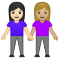 Women Holding Hands: Light Skin Tone, Medium-Light Skin Tone on Google Android 10.0 March 2020 Feature Drop
