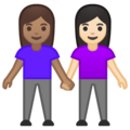Women Holding Hands: Medium Skin Tone, Light Skin Tone on Google Android 10.0 March 2020 Feature Drop