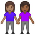 Women Holding Hands: Medium Skin Tone, Medium-Dark Skin Tone on Google Android 10.0 March 2020 Feature Drop