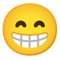 Beaming Face with Smiling Eyes on Google Android 11.0