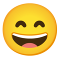 Grinning Face with Smiling Eyes on Google Android 11.0