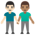 Men Holding Hands: Light Skin Tone, Medium Skin Tone on Google Android 11.0