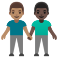 Men Holding Hands: Medium Skin Tone, Dark Skin Tone on Google Android 11.0