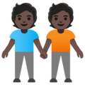People Holding Hands: Dark Skin Tone on Google Android 11.0