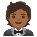 Person in Tuxedo: Medium-Dark Skin Tone on Google Android 11.0