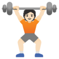 Person Lifting Weights: Light Skin Tone on Google Android 11.0