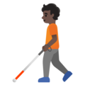 Person with White Cane: Dark Skin Tone on Google Android 11.0