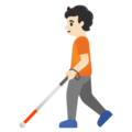 Person with White Cane: Light Skin Tone on Google Android 11.0