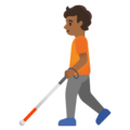 Person with White Cane: Medium-Dark Skin Tone on Google Android 11.0