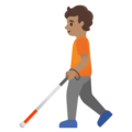 Person with White Cane: Medium Skin Tone on Google Android 11.0