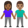 Woman and Man Holding Hands: Medium-Dark Skin Tone, Medium Skin Tone on Google Android 11.0