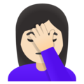 Woman Facepalming: Light Skin Tone on Google Android 11.0