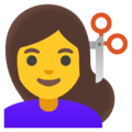 Woman Getting Haircut on Google Android 11.0