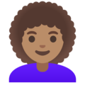 Woman: Medium Skin Tone, Curly Hair on Google Android 11.0
