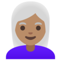 Woman: Medium Skin Tone, White Hair on Google Android 11.0