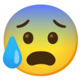 Anxious Face with Sweat on Google Android 11.0 December 2020 Feature Drop
