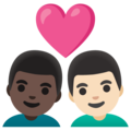 Couple with Heart: Man, Man, Dark Skin Tone, Light Skin Tone on Google Android 11.0 December 2020 Feature Drop