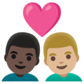 Couple with Heart: Man, Man, Dark Skin Tone, Medium-Light Skin Tone on Google Android 11.0 December 2020 Feature Drop