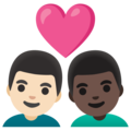 Couple with Heart: Man, Man, Light Skin Tone, Dark Skin Tone on Google Android 11.0 December 2020 Feature Drop