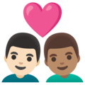 Couple with Heart: Man, Man, Light Skin Tone, Medium Skin Tone on Google Android 11.0 December 2020 Feature Drop