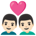 Couple with Heart: Man, Man, Light Skin Tone on Google Android 11.0 December 2020 Feature Drop