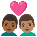 Couple with Heart: Man, Man, Medium-Dark Skin Tone, Medium Skin Tone on Google Android 11.0 December 2020 Feature Drop