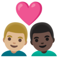 Couple with Heart: Man, Man, Medium-Light Skin Tone, Dark Skin Tone on Google Android 11.0 December 2020 Feature Drop