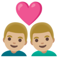 Couple with Heart: Man, Man, Medium-Light Skin Tone on Google Android 11.0 December 2020 Feature Drop