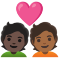 Couple with Heart: Person, Person, Dark Skin Tone, Medium-Dark Skin Tone on Google Android 11.0 December 2020 Feature Drop