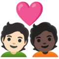 Couple with Heart: Person, Person, Light Skin Tone, Dark Skin Tone on Google Android 11.0 December 2020 Feature Drop