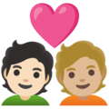 Couple with Heart: Person, Person, Light Skin Tone, Medium-Light Skin Tone on Google Android 11.0 December 2020 Feature Drop