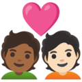Couple with Heart: Person, Person, Medium-Dark Skin Tone, Light Skin Tone on Google Android 11.0 December 2020 Feature Drop