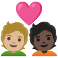 Couple with Heart: Person, Person, Medium-Light Skin Tone, Dark Skin Tone on Google Android 11.0 December 2020 Feature Drop