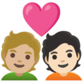 Couple with Heart: Person, Person, Medium-Light Skin Tone, Light Skin Tone on Google Android 11.0 December 2020 Feature Drop