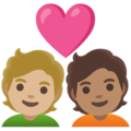 Couple with Heart: Person, Person, Medium-Light Skin Tone, Medium Skin Tone on Google Android 11.0 December 2020 Feature Drop