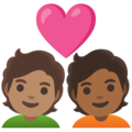 Couple with Heart: Person, Person, Medium Skin Tone, Medium-Dark Skin Tone on Google Android 11.0 December 2020 Feature Drop