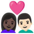 Couple with Heart: Woman, Man, Dark Skin Tone, Light Skin Tone on Google Android 11.0 December 2020 Feature Drop
