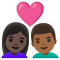 Couple with Heart: Woman, Man, Dark Skin Tone, Medium-Dark Skin Tone on Google Android 11.0 December 2020 Feature Drop