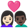 Couple with Heart: Woman, Man, Light Skin Tone, Dark Skin Tone on Google Android 11.0 December 2020 Feature Drop