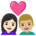 Couple with Heart: Woman, Man, Light Skin Tone, Medium-Light Skin Tone on Google Android 11.0 December 2020 Feature Drop