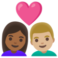 Couple with Heart: Woman, Man, Medium-Dark Skin Tone, Medium-Light Skin Tone on Google Android 11.0 December 2020 Feature Drop