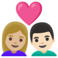 Couple with Heart: Woman, Man, Medium-Light Skin Tone, Light Skin Tone on Google Android 11.0 December 2020 Feature Drop