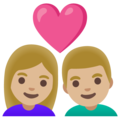 Couple with Heart: Woman, Man, Medium-Light Skin Tone on Google Android 11.0 December 2020 Feature Drop