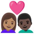 Couple with Heart: Woman, Man, Medium Skin Tone, Dark Skin Tone on Google Android 11.0 December 2020 Feature Drop