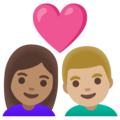 Couple with Heart: Woman, Man, Medium Skin Tone, Medium-Light Skin Tone on Google Android 11.0 December 2020 Feature Drop
