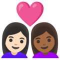 Couple with Heart: Woman, Woman, Light Skin Tone, Medium-Dark Skin Tone on Google Android 11.0 December 2020 Feature Drop